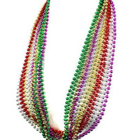 Mardi Gras Necklace - Asst Colors - 6mm x 33 in - Set of 12