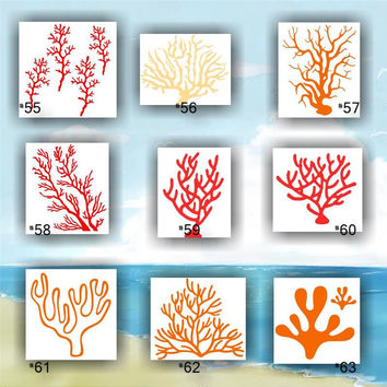 CORAL vinyl decals - 55-63 - vinyl stickers - ocean plant life stickers - wall decals - wall stickers - custom vinyl decals