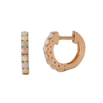 Opal Cabochon Gemstone Pavé 14K Solid Gold Thick Huggie Hinged Hoop Earrings, 11mm Outer x 6mm Inner Diameter (Single or Pair of Hoops)