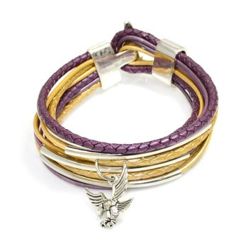 Purple and Gold Spirit Thin/Braided Leather Wrap Bracelet with Silver Tube Beads and a Silver Toggle Clasp-Add Charms
