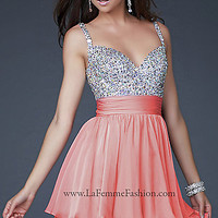 Cute Short Embellished Party Dress by La Femme