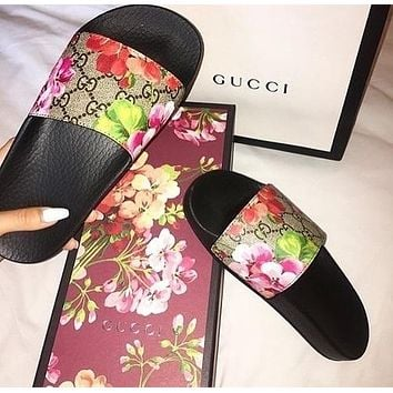 Gucci Slippers Flat Shoes Casual Fashion Women Men Floral Print Sandal Slipper Shoes