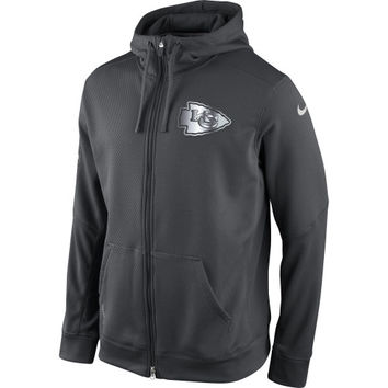 Kansas City Chiefs Nike Platinum KO Chain Fleece Full-Zip Performance Sweatshirt – Charcoal