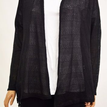 Style&Co Women's Stretch Black Open-Front Lace Inset Sheer Cardigan Shrug Top S