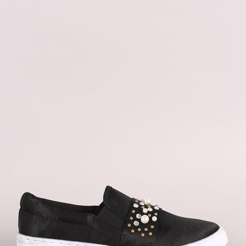 Satin Sparkling Jewel Accents Sneakers