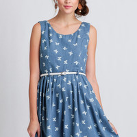 Social Butterfly Chambray Dress By Yumi