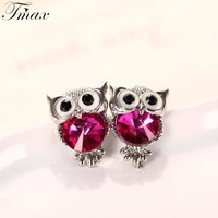 Tengmaxi Brand Jewelry Crystal Owl Stud Earrings For Women Vintage Gold-Color Animal Statement Earrings Brincos Free Shipping