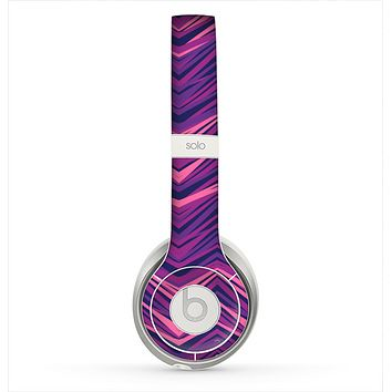 The Purple and Pink Overlapping Chevron V3 Skin for the Beats by Dre Solo 2 Headphones
