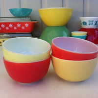 JAJ Pyrex red and yellow 4 bowl set!! Fab, retro, coral and yellow Hostess Set of snack bowls! ReTrO KiTcHeN!