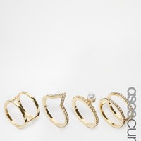 ASOS CURVE Crystal Open Shapes Ring Pack at asos.com