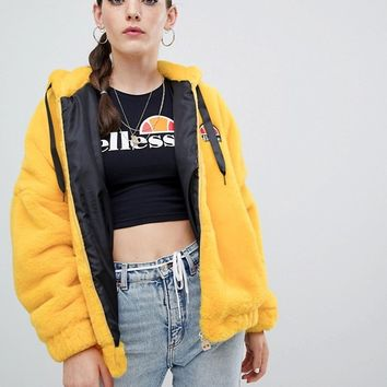 Ellesse Oversized Zip Front Hoodie With Embroidered Chest Logo In Faux Fur at asos.com