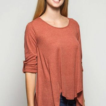 Ribbed Roll Up Sleeve Top