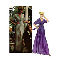 1970s VOGUE MAXI DRESS Pattern Deep V-Neck Evening Gown Boho Dress Nina Ricci Vogue 2886 Paris Original Bust 34 UNCuT Womens Sewing Patterns
