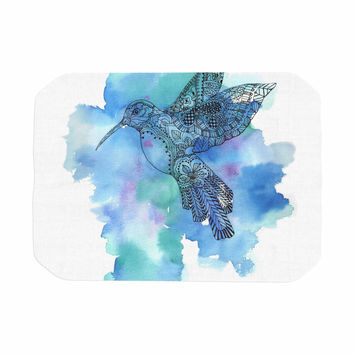 "Sonal Nathwani ""Hummingbird"" Blue Watercolor Place Mat"