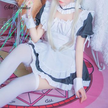SEEDRULIA Women French Maid Cosplay Sexy Halloween Costumes New Hot Women Room Service Maid Cosplay Anime Outfits with Stocking