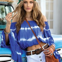Luxury Crop Top - Blue Tie Dye