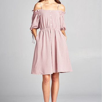 Off The Shoulder Dress with Gingham Pink Print