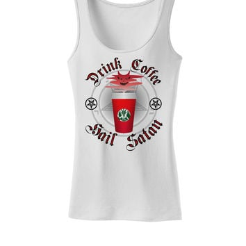 Red Cup Drink Coffee Hail Satan Womens Petite Tank Top by