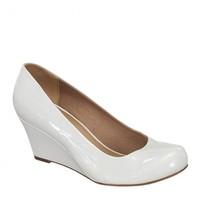 Yab Doris-22 Mid Heel Round Toe Wedge Pumps in White @ yabshop.com
