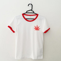 Weed canabis marijuanna tshirt fashion womens girls sassy cute fresh top dope lazy swag graphic tee white ringer pocket shirt teen gifts