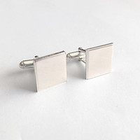 Silver Square Cufflinks  - Recycled Sterling Silver - Square Plain Cuff Links - Men's Gift - Dad Boyfriend Husband