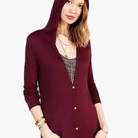 Burgundy Long Sleeve Hooded Maxi Cardigan