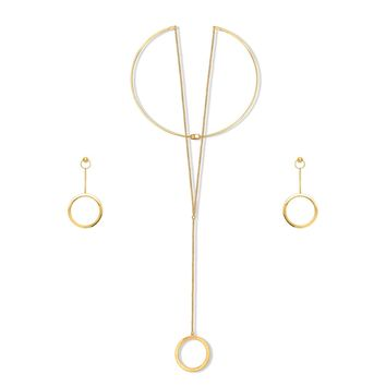 Gold-Tone Ball Bead Open Circle Choker Necklace and Earrings SetBe the first to write a reviewSKU# vs509-02