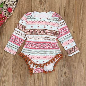 New Vintage Newborn Baby Girl Infant Bohemia Aztec Print Rompers Jumpsuit