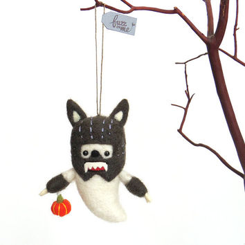 Werewolf Halloween ornament : Needle felted ghost with a gray werewolf costume and an orange pumpkin