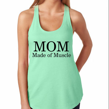Mom Muscles Workout Tank Top. Mint Green. Racerback Crossfit Tank Top. Running Tank