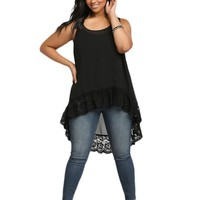 Plus Size!  Woman Vest Long Loose Chiffon Lace Summer Sleveless Women Tanks Slim Black Tops  Size XL-4XL