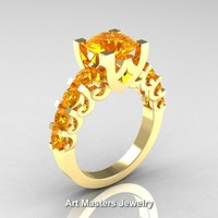Modern Vintage 14K Yellow Gold 3.0 Carat Citrine Designer Engagement Ring R142-14KYGCI