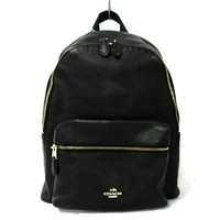 Auth COACH Charly pebble Leather Bag pack F38288 Black Leather Backpack
