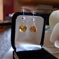 5 Carat Solitaire Earrings Artisan Altered Sterling Vintage Pierced Stud Dangle Genuine Citrine Gemstone