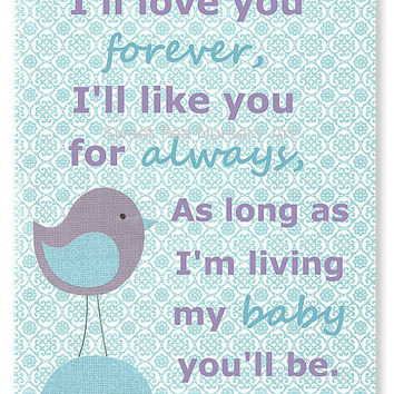Aqua and Lavender Nursery Art, Matches Colors of Pottery Barn Brooklyn, I'll Love You Forever, I'll Like You For Always, My Baby You'll Be