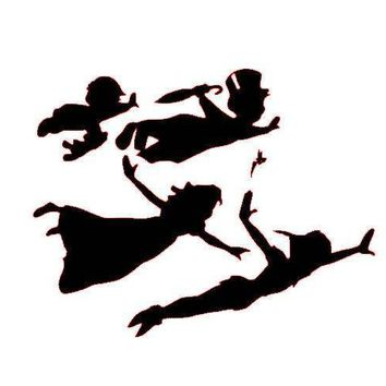 Peter Pan Tinker Bell Wendy Flying Vinyl Window Decal Sticker