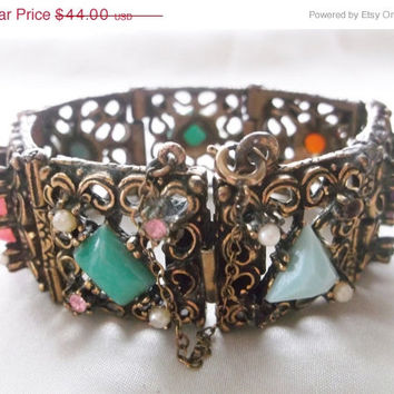 SALE Vintage Antique Multi Gemstone Rhinestone Pearl Open Work Antiqued Gold Heavy 109 g Link Bracelet Jewelry Gift