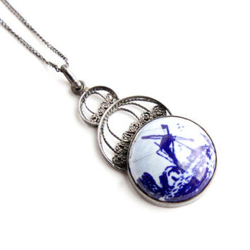 Vintage Silver Delft Necklace - Windmill Filigree .835 Purity Silver Jewelry / Blue Country