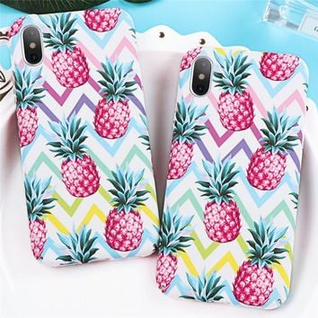 Pineapple Print Hard PC Plastic Phone Case for Apple iPhone X 8 7 6 6S Plus 5 5S SE Case Back Cover Capa For iPhone 8