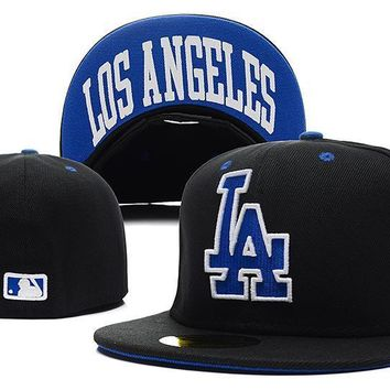 PEAPON Los Angeles Dodgers New Era MLB Authentic Collection 59FIFTY Cap Black-Blue LA