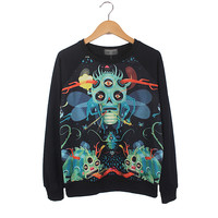 Black Long Sleeve Cartoon Skull Print Sweatshirt Green