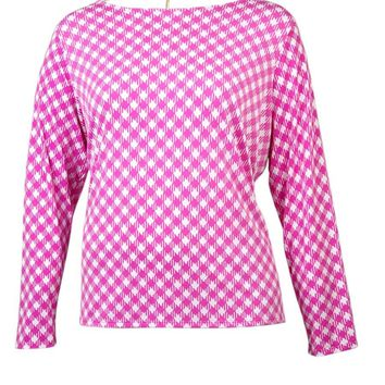 Michael Kors Women's Houndstooth Cowl Back Long Sleeve Blouse