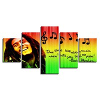 5 Pieces Bob Marley 5 Pcs Pieces Panel Canvas Wall Art Panel Print Picture