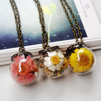 Korean Contracted Dried Flowers Glass Ball Long Clothing Chain Necklace