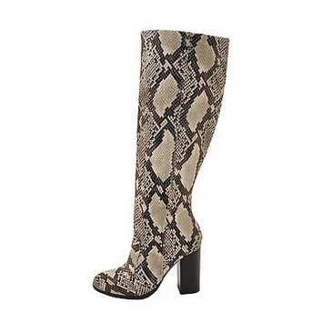 Womens Tall Snakeskin Chunky Stacked Heel Boots Side Zipper Bamboo Upside-30M