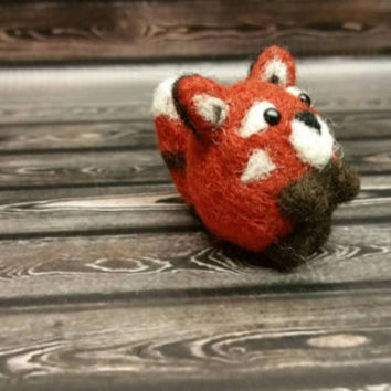 Popcorn Red Panda - Needle Felting Sculpture - Felted Panda - Soft Animal - Handmade Art