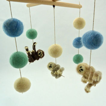 Sloth Mobile, Spring Colors, Baby Mobile, Sloth Nursery, Mint, Blue, Cream