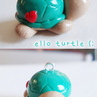 turquoise turtle polymer clay charm - cute kawaii polymer phone charm pendant - jimmy the turtle