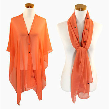 Coral Multi-Way Sheer Cover Up Poncho Scarf with Buttons