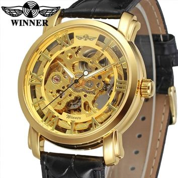 WINNER Brand Gold Black Transparent Automatic Mechanical Watches Leather Skeleton Steampunk Clocks Male Relogio Masculino 2018